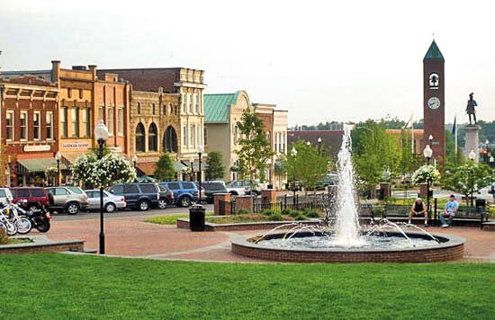 downtown spartanburg sc morgan square magnolia street water fountain clock tower
